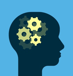 Gears working brain vector image vector image