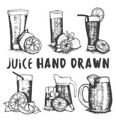 set of hand drawn fruit juice glass sketch vector image