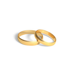 two golden rings gold wedding rings pair 3d vector image