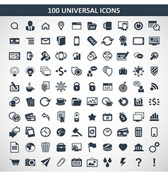 100 media icons vector image