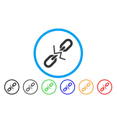 broken chain link rounded icon vector image vector image