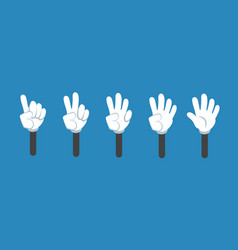 cartoon counting hand with number gestures vector image