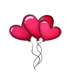 colorful sketch of heart shaped balloons vector image