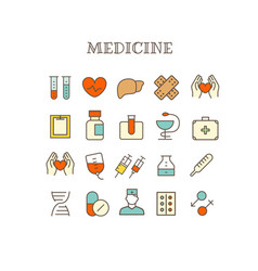 different medical thin line color icons set vector image