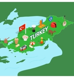 Turkey map isometric 3d style vector image