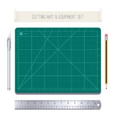 Cutting mat and equipment set vector