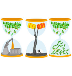 ecology problem concept sandglasses with oil vector image