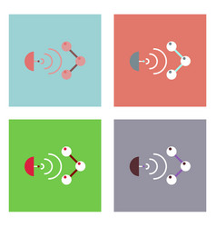 Flat icon design collection molecule and satellite vector