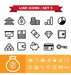Line icons set 5 vector image