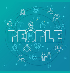 people concept different thin line icons included vector image vector image