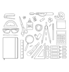Stationery tools set Contour vector image vector image