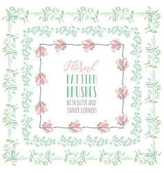 Flexible floral pattern brushes with branches and vector