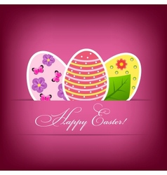 Paper card with easter eggs vector image