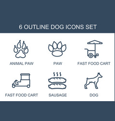 6 dog icons vector