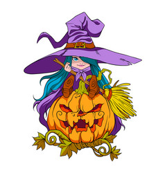 a little blue witch on a giant evil pumpkin vector image