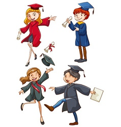 A simple coloured sketch of the graduates vector image
