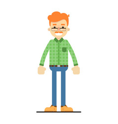 Adult redheaded man in shirt and pants vector