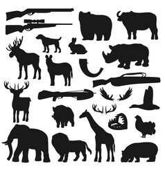 african safari hunt animals and birds hunter ammo vector image