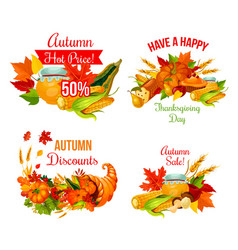autumn sale symbol set of thanksgiving holiday vector image