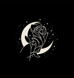 beautiful woman hand with flower on moon vector image