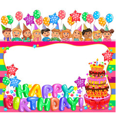 birthday bright frame with cake and cute kids vector image