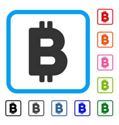 bitcoin letter framed icon vector image