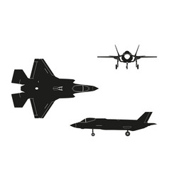 black silhouette military aircraft vector image