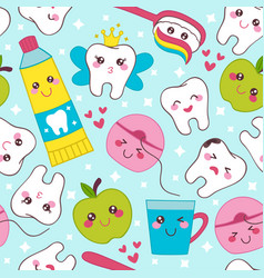 blue dental seamless pattern with healthy teeth vector image