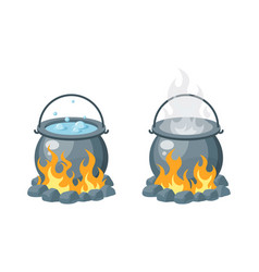 Boiling water in a cauldron in flat style vector