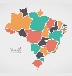 Brazil map with modern round shapes vector