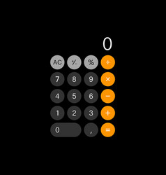 calculator isolated on black back vector image