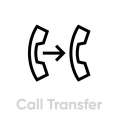 Call transfer icon editable line vector