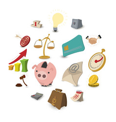 cartoon business icons vector image