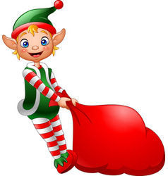 cartoon elf pulling a bag full of gifts vector image