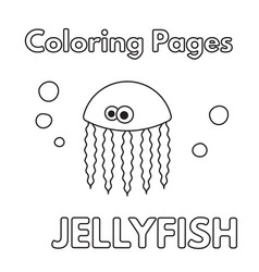 Cartoon jellyfish coloring book vector