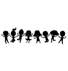 cartoon silhouettes of children in a jump vector image
