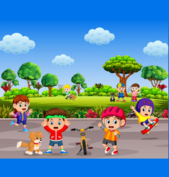 children are playing and doing sport together vector image