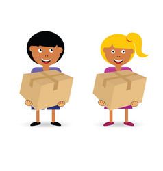 Children holding paper box vector