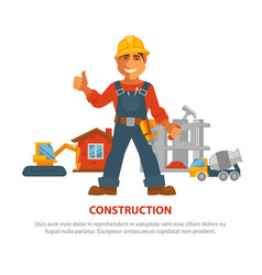 construction advertisement banner with man in vector image