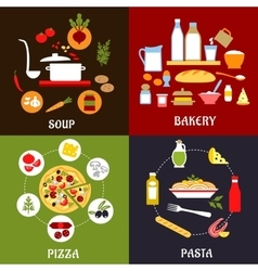Cooking processes of vegetarian and fast food vector image