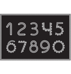 Crochet numbers set handicraft signs white yarn vector