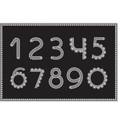 crochet numbers set handicraft signs white yarn vector image