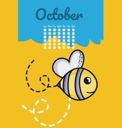cute bees calendar cartoon vector image