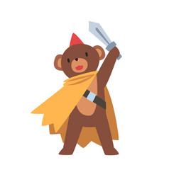 cute brown bear cartoon character in superhero vector image
