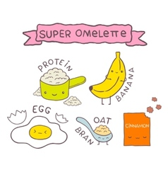 Cute cartoon Super omelette recipe vector
