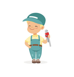 Cute preschool boy dressed as plumber cartoon vector