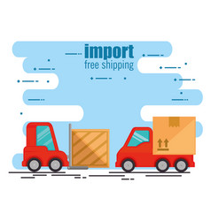 Delivery forklift with truck vector
