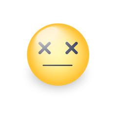 dizzy emoji face cross eyes emoticon icon sad vector image vector image