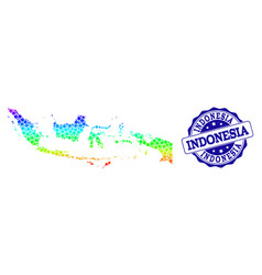 Dot rainbow map of indonesia and grunge stamp seal vector