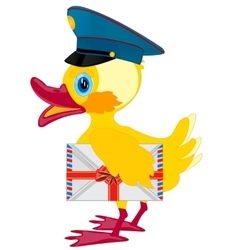Duckling postman with envelope vector